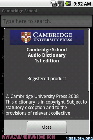 cambrige auto dictionary
